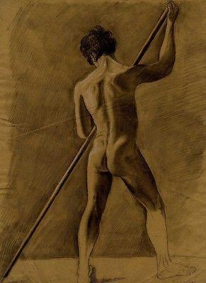 Etude Acad�mique Homme nu de dos Nude dessin original Drawing XIX�me si�cle