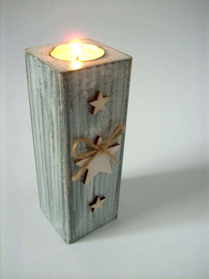 Dřevěný svícen na čajovou svíčku - HRANATÝ, 7cm