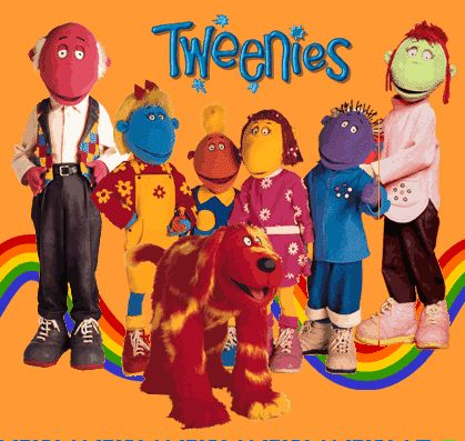 Tweenies: left to right: Max, Bella, Jake, Fizz, Milo, Judy. The dog is called Doodles.