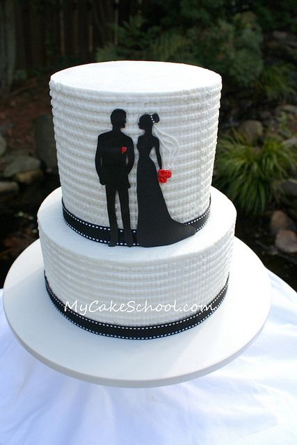 Silhouette Cake with Textured buttercream from a MyCakeSchool.com video ;0)