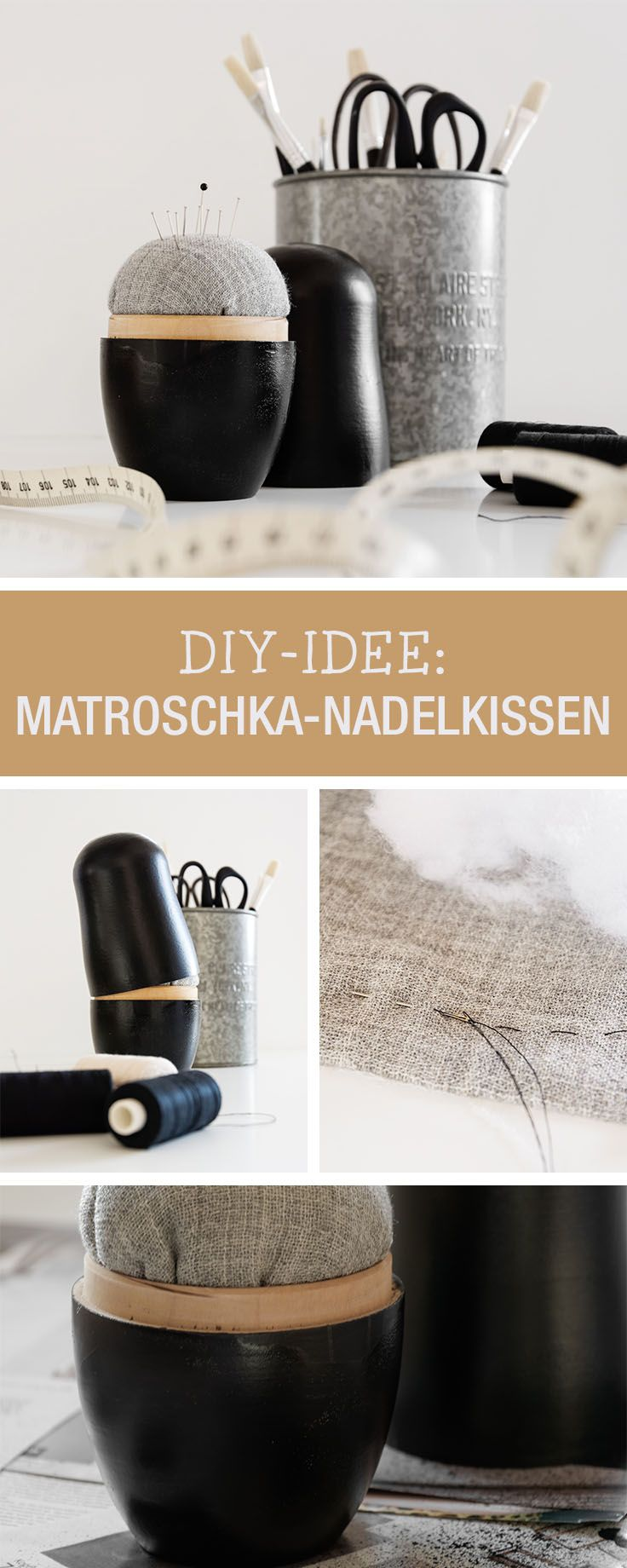 DIY-Anleitung: Modernes Nadelkissen für Deine Nähecke, Matroschka / DIY tutorial: modern pin cushion for your sewing room, upcycling idea via DaWanda.com