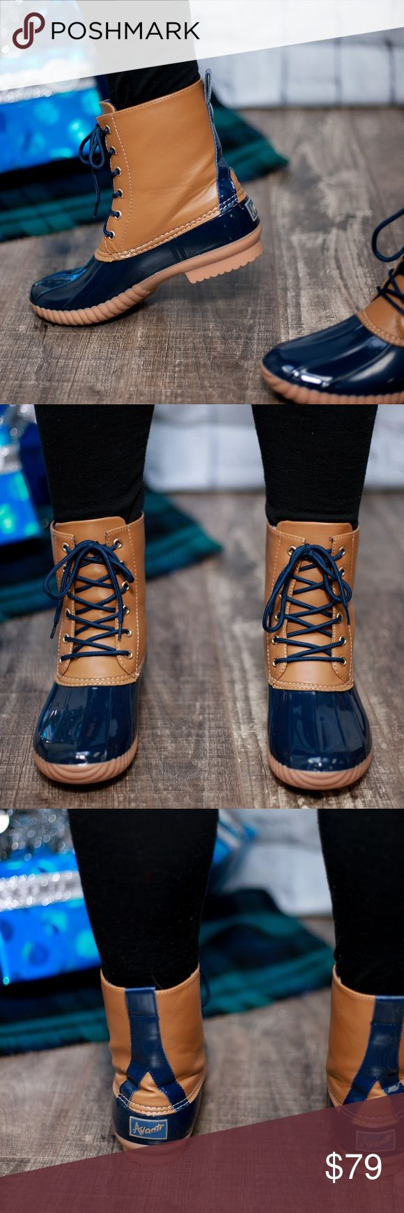 Navy Duck Boots This listing is for navy. These are selling like crazy!! $79 each or $130 for 2 pairs. Other colors available  Select lining in each boot to keep you comfy. Stitched synthetic rubber sole for durability and grip  Price FIRM unless bundled. Kyoot Klothing Shoes Winter & Rain Boots