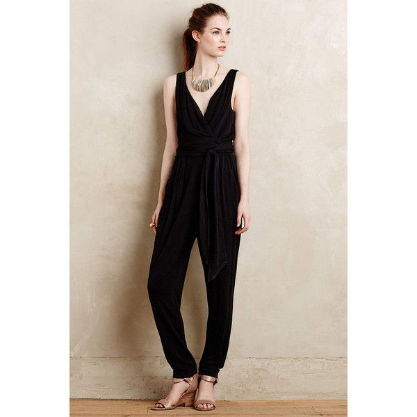 Pure + Good Asherah Jumpsuit (620 BRL) via Polyvore featuring jumpsuits, black, petite, black jumpsuit, jump suit, black jump suit, petite jumpsuit e jumpsuits & rompers
