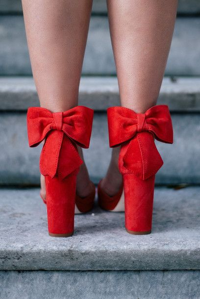 Shoes: tumblr red heels high heels heels bow bow sandals sandal heels high heel sandals block heels