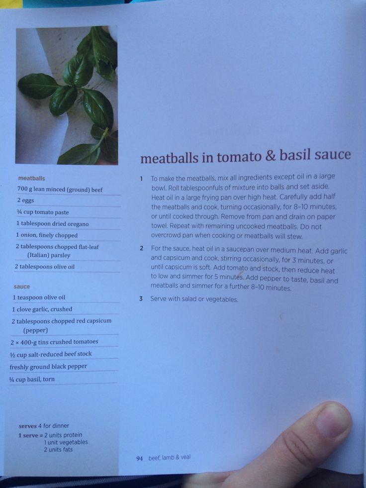 Meatballs in tomato and basil sauce. CSRIO Diet.