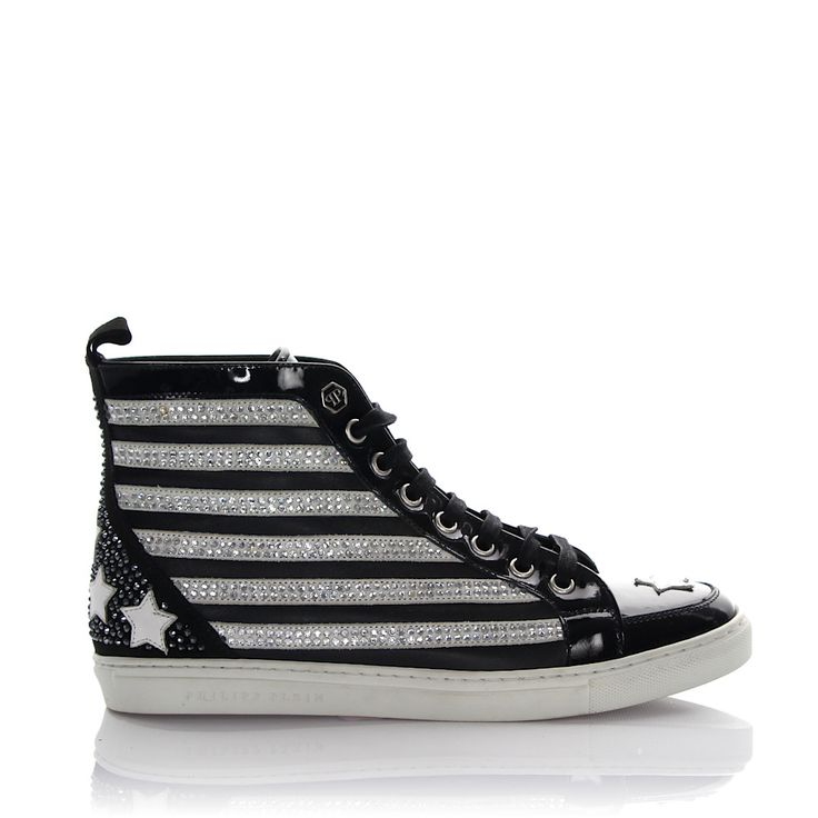 Philipp Plein Sneakers High Leder schwarz Strass