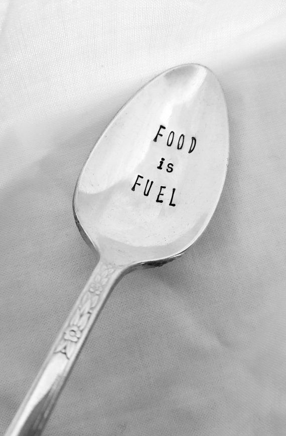 Food Is Fuel Spoon Hand Stamped Spoon Custom by SweetMintHandmade