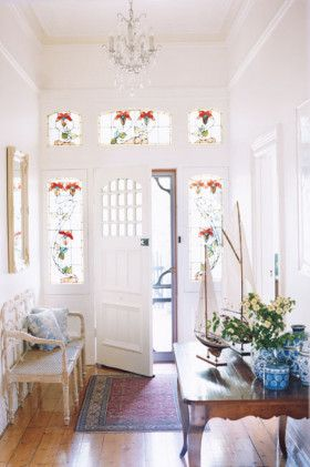 I just love this entrance. The gorgeous stained glass flowers, the old storm door storm, the unique inner door. <3 Beautiful.<3 Ballarat home