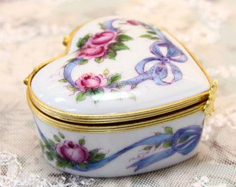 Hand painted Porcelain Limoges Jewellery Box with Rose &