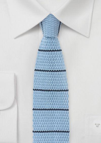 Strick-Herrenkrawatte taubenblau dunkelblau