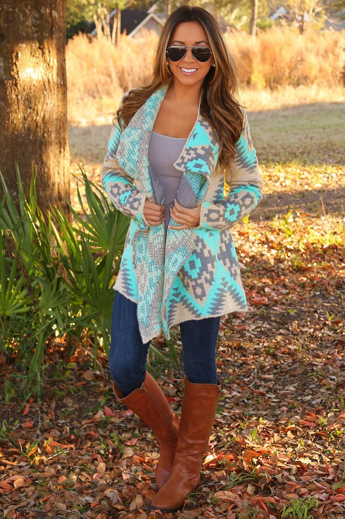 Neon Native Cardigan: Gray/Mint from Hope's Womens Boutique