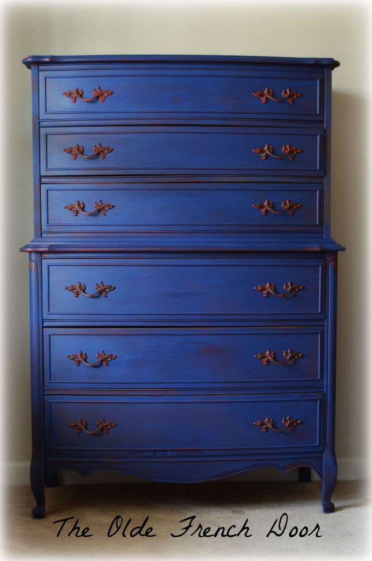 Chalk Paint Annie Sloan Emperor's Silk Napoleonic Blue French Provincial Chest on Chest Highboy from Dixie Fredericksburg Virginia