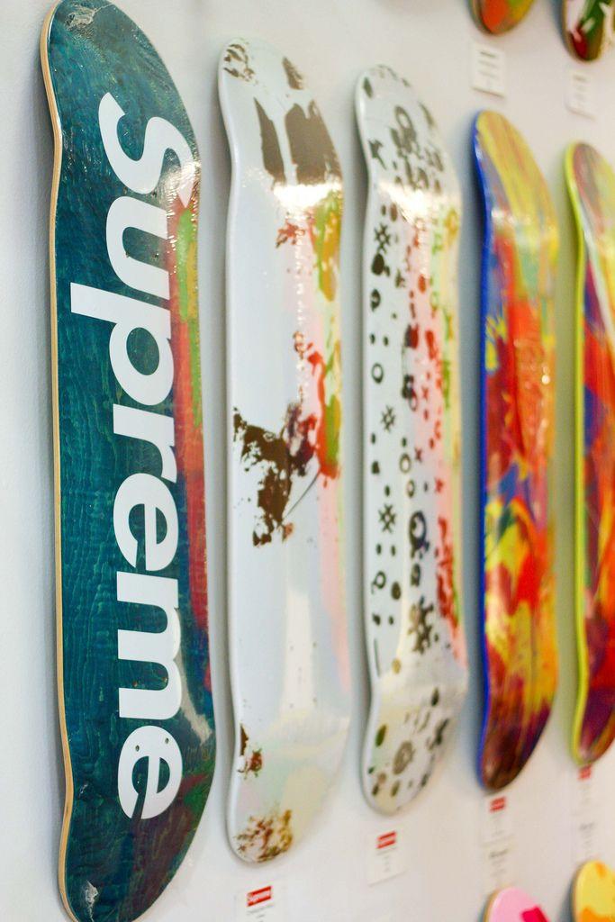 Supreme. Skateboards. Wall.