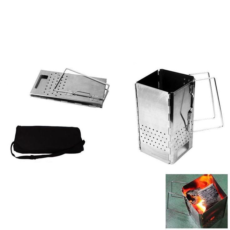 New Stainless Steel Folding Charcoal Starter Outdoor BBQ Grill Chimney Starter #BrandNew