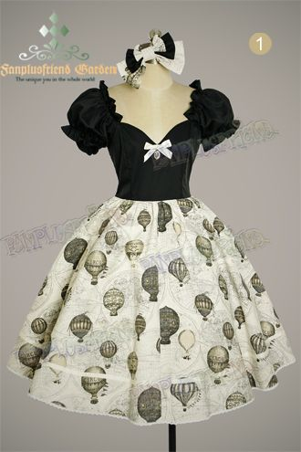 "Rakuten: † FanPlusFriend † Gothic Lolita Steampunk Lolita ""Fire Balloon Adventure"" Corset Lacing Up Dress-2 colors and 3 sizes ~ *..."