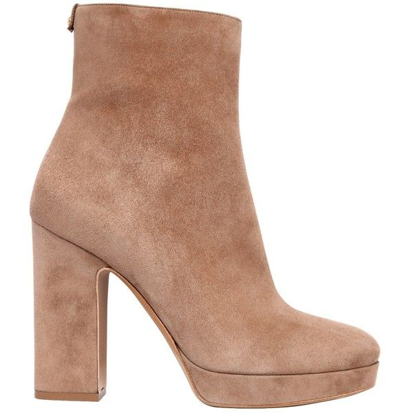 Salvatore Ferragamo Women 105mm Bolzano Suede Ankle Boots (57.605 RUB) ❤ liked on Polyvore featuring shoes, boots, ankle booties, nude, platform boots, bootie boots, suede ankle boots, nude ankle boots and platform booties