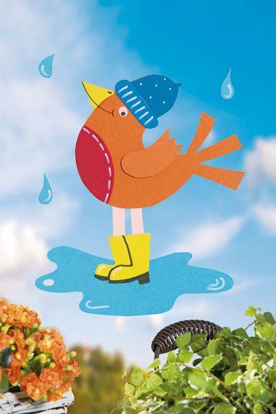 """Fensterbild """"Vogel im Regen"""" für einen fröhlichen Herbst"""