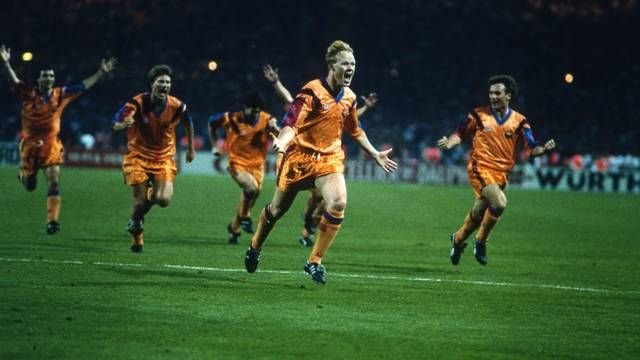 Barcelona lifted the European Cup for the first ever time today in 1992, Ronald Koeman scoring the winner in the 112th minute at the home of football Wembley Stadium