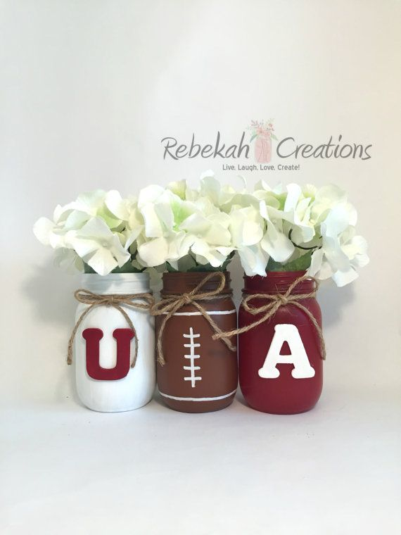 University of Alabama Mason Jars Alabama Dorm by RebekahCreations