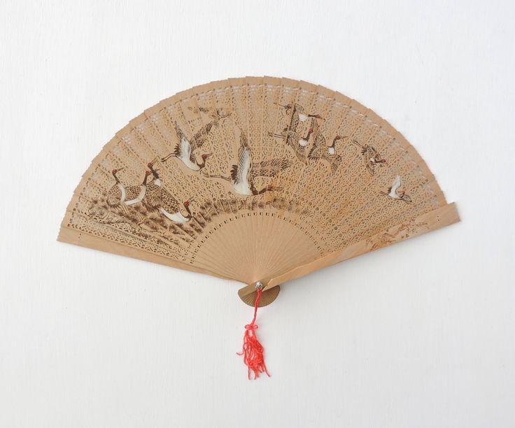 Vintage Chinese Wood Fan For Repair Asian Sandalwood Fan