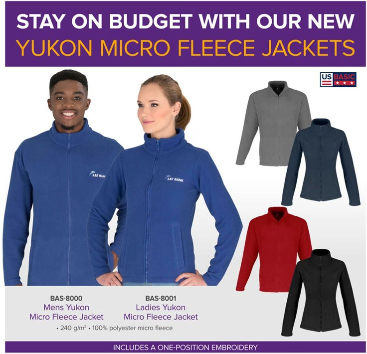 Yukon Micro Fleece Jacket from US Basic supplied by Best Branding.  Our new Yukon Micro Fleece Jacket from US Basic is the perfect choice this winter. Ideal for everyday wear, these affordable jackets are competitively priced to fit your budget.  BAS-8000Mens Yukon Micro Fleece Jacket BAS-8001Ladies Yukon Micro Fleece Jacket