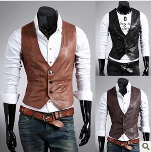 2013 Fashion Men's vest /Stylish Casual Slim Fit Leather vests/Men's fashion vest M-XL light brown,dark brown,black on AliExpress.com. $23.98
