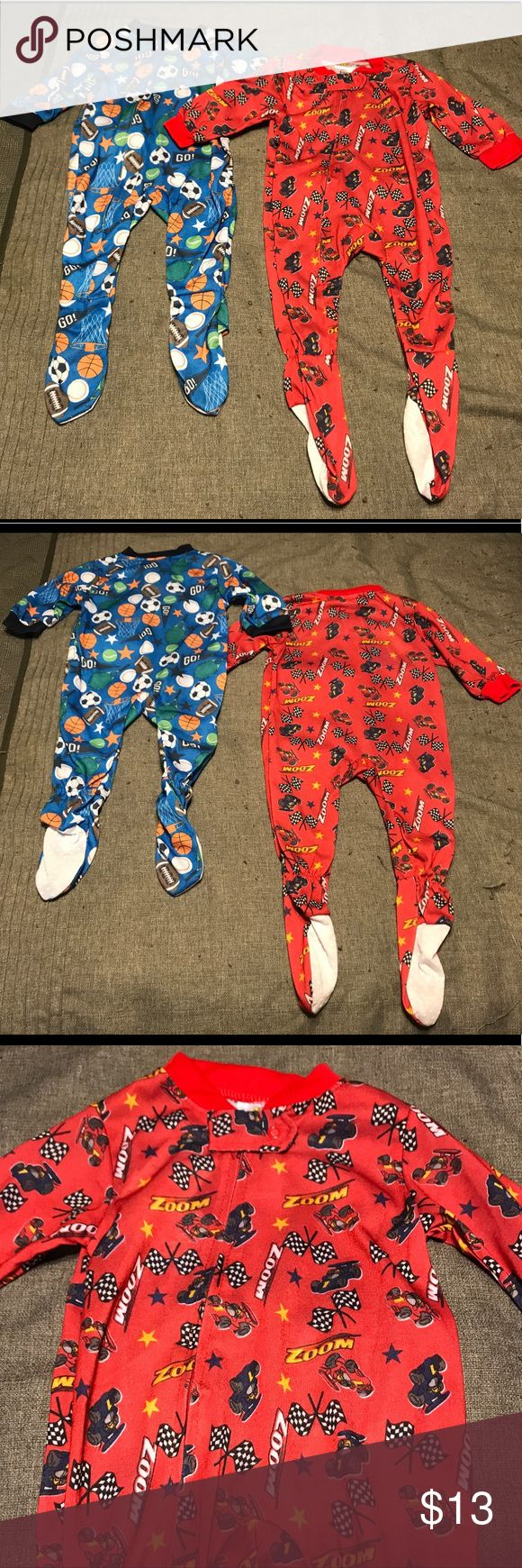 NWT🔥 Bundle of 2 Baby Boy PJs These are new with tags!! This is a bundle of baby boy one piece footie pajamas. The red pajamas have a race car theme and they zipper and the blue pajamas have a sports theme and they also zipper. These pajamas are thin material so they are light. precious creations Pajamas