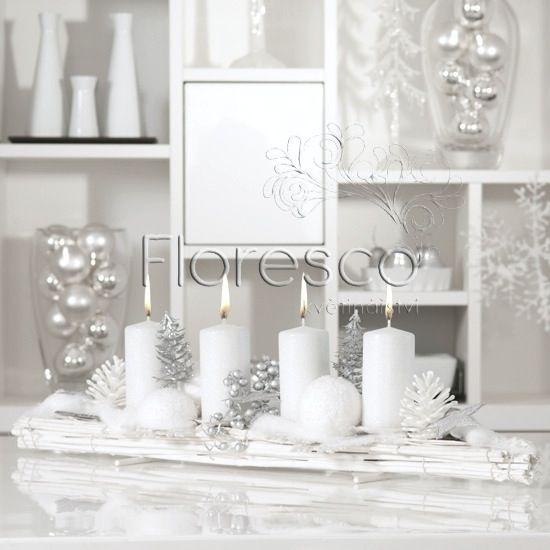 Adventní svícen protažený s bílými svíčkami, délka 65cm, Kč 740,-