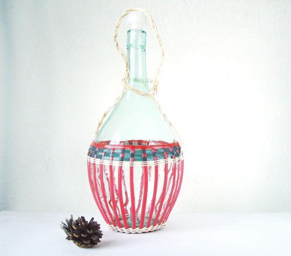 Demijohn Wicker Bottle Wine Bottle in Basket by MerilinsRetro