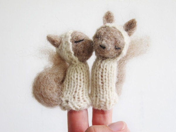 FINGER PUPPET MOBILE, Needle Felted Squirrelss, baby, children, kids, eco-friendly toy, nursery decor. $95.00, via Etsy.