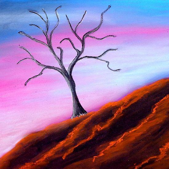 Solitary Tree Pink Sky