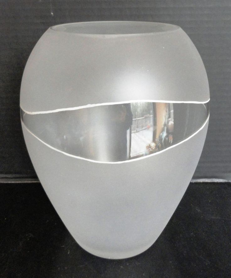 "Deco Vintage Signed  9"" Art Glass Vase Frosted Modernistic Scandinavian Vase"