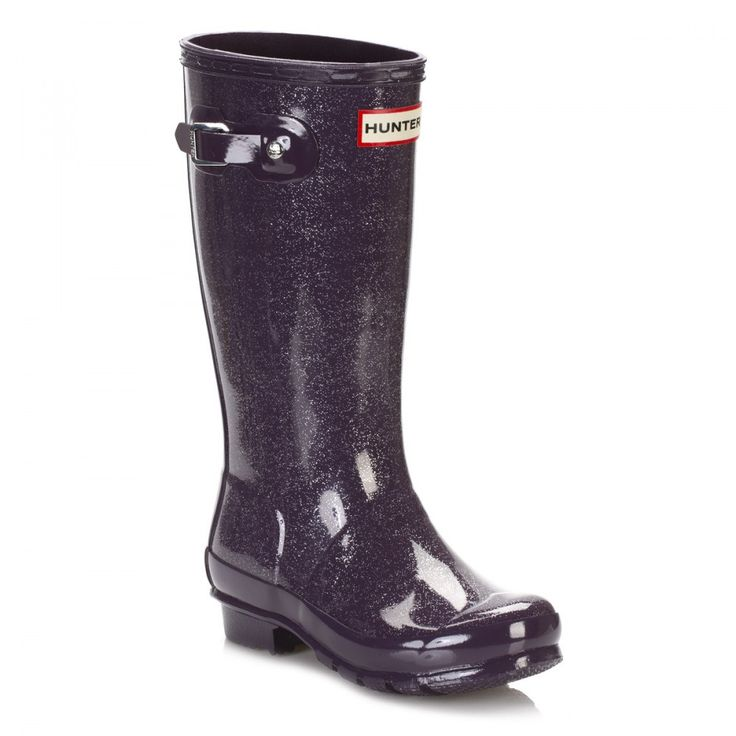 Hunter Original Junior Purple Urchin Glitter Wellington Boots JFT6000RGGPRC | TOWER London  #hunter #hunterboots #hunterwellingtons #hunterwellies #shoes #boots #kids #style #festival #rain #winter #london