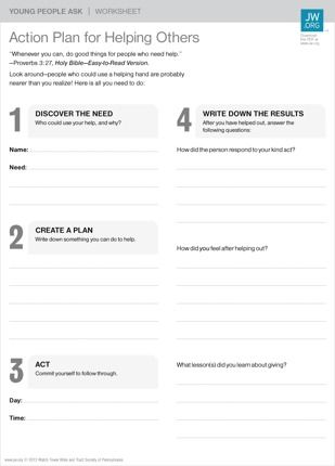 Best Action Plan Worksheets Images On   Bible