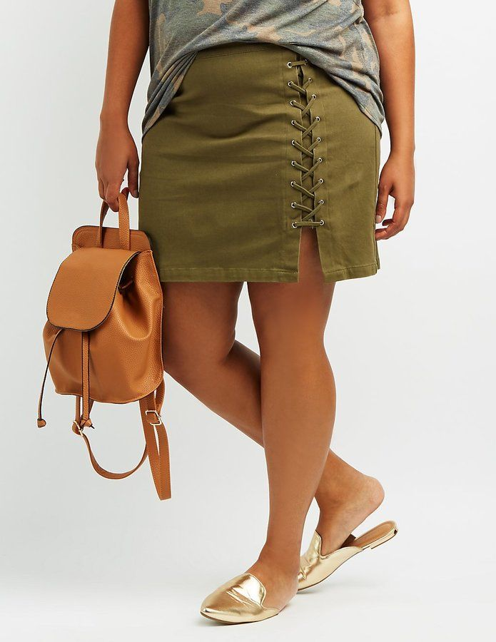 Charlotte Russe Plus Size Lace-Up Mini Skirt