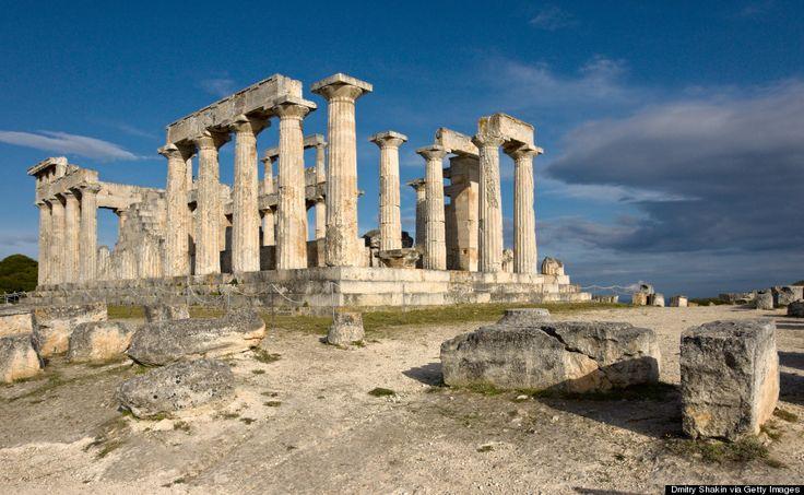 Ancient temple ruins on Aegina, Greece