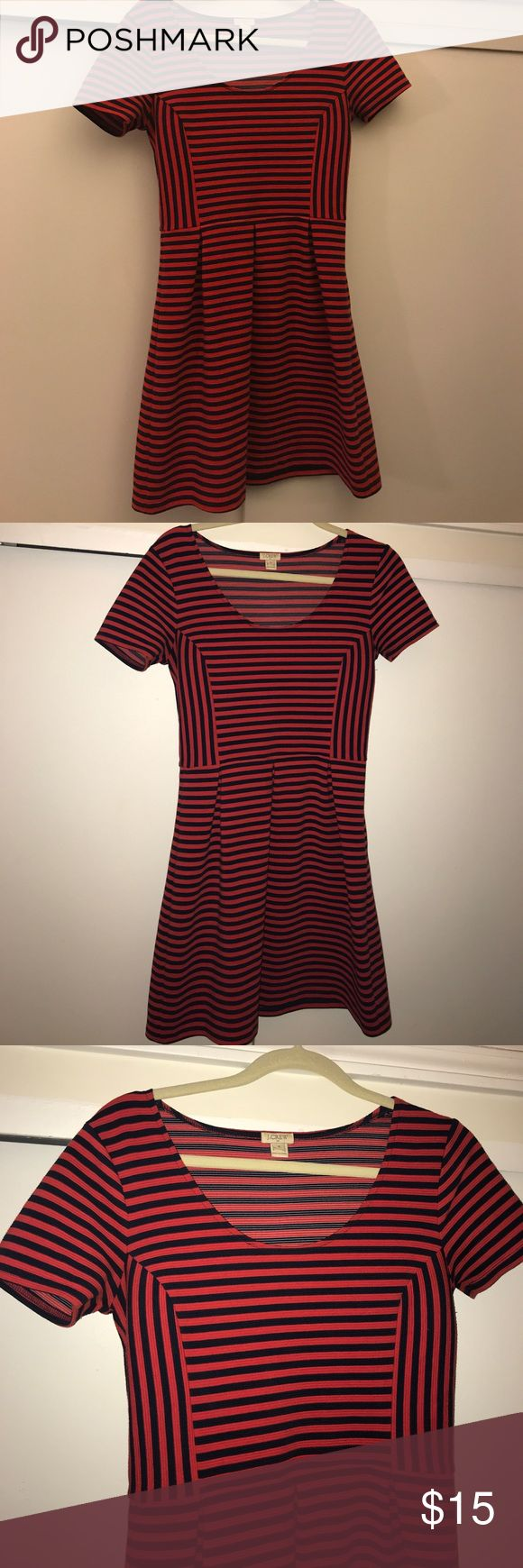 Jcrew red and navy striped dress Hits above the knee, short sleeved J. Crew Dresses Mini