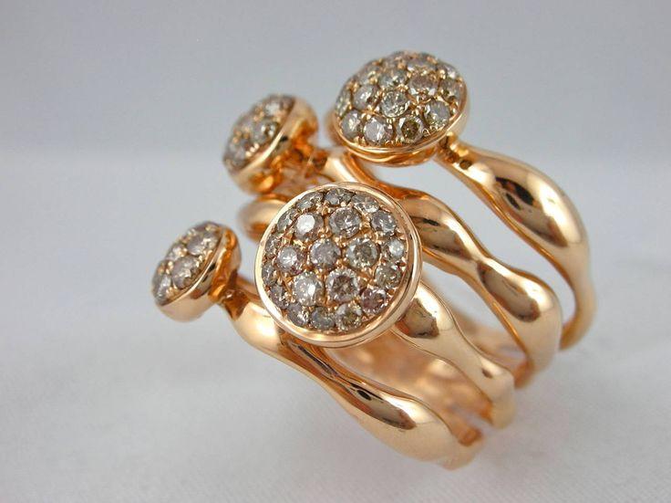 Jona Organic Shape Brown Diamond Gold Ring $4,794.43