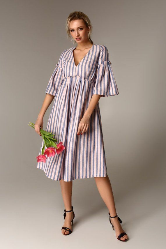 Nice Summer Dress With Strip Lines Perfect Design Linen Dress Etsy Best Summer Dresses Linen Dresses Dresses