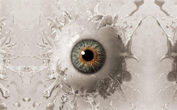 Herunterladen hintergrundbild auge, 3d-auge, menschliches auge, kunst, vision, konzepte, spritzer