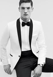 black and white tux, with a RED BOW TIE