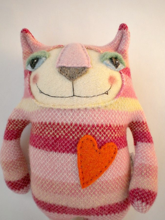 Pink Striped Tiger Cat Stuffed Animal from Wool Sweater Felted Repurposed