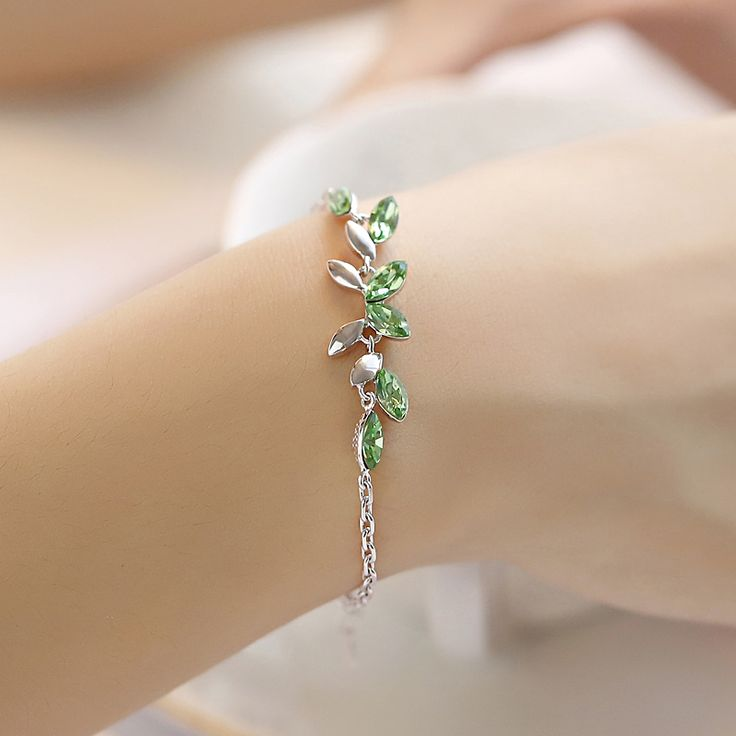 Girlfriend birthday gifts 951 pinterest 925 sterling silver austrian natural stone sweet green crystal bracelet female fashion women jewelry girlfriend birthday negle Choice Image