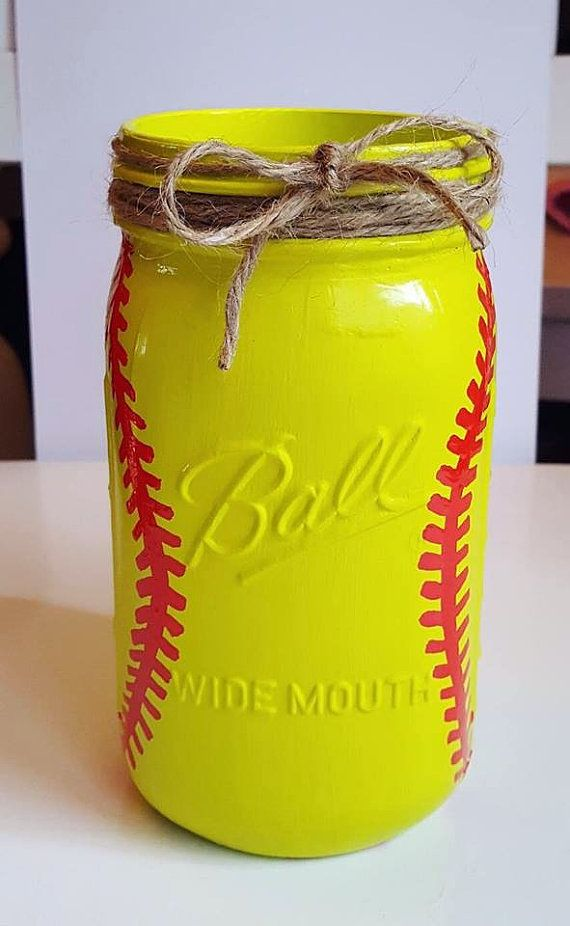 Softball Mason Jar - Softball Coach Gift - Softball Decor - Softball Centerpiece - Coaches Gift - Sports Mason Jar - Girl Room Decor