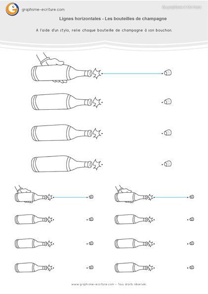 Graphisme GS Lignes horizontales- Représenter la trajectoire des bouchons de champagne en se servant de la ligne horizontale.
