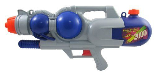 Water Gun Super Aqua Blaster Soaker 2000 by Megatoys. $22.95. No Batteries Required!. Pump Action Super Water Cannon!. Extra Large Water Reservoir. Arm yourself for the ultimate in water fun with the Water Cannon 2000!. Awesome air-powered, pump-pressurized blaster with quick-fill cap. Pump Action Super Water Cannon 2000!, Awesome air-powered, pump-pressurized blaster with quick-fill cap, When you've got your target in your sights, blast away, And a large capacity tank so you can...