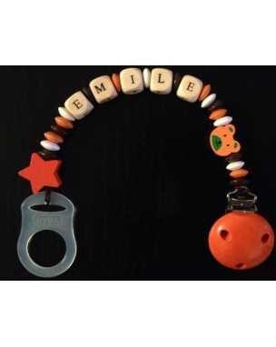 Attache tétine perle bois attache sucette fille orange, blanc et marron exemple : EMILE