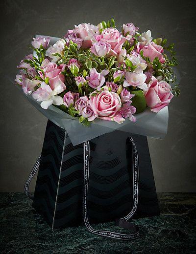 autograph rose freesia gift bag flower arrangement pinterest