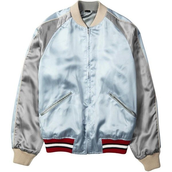 Gucci Reversible satin bomber jacket ❤ liked on Polyvore featuring outerwear, jackets, blue jackets, zip jacket, bomber style jacket, gucci jacket and eagles jacket