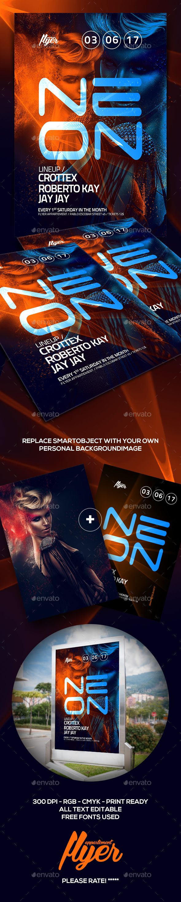 NEON Party Flyer — Photoshop PSD #party #festival • Download ➝ https://graphicriver.net/item/neon-party-flyer/19191146?ref=pxcr